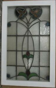 Mid Sized Old English Leaded Stained Glass Window Stunning Floral 19 5 X 31