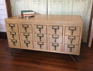 Vintage Mid Century Modern Card Catalog Table Wine Cabinet Coffee Library End