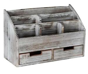 Superbpag Office Supplies Distressed Torched Wood Desk Organizer Vintage