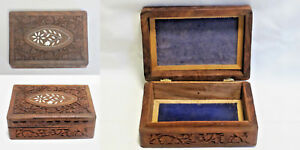 Vintage Hand Carved Wooden Dresser Box Jewelry Trinket Floral Flower Inlay India