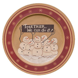 Primitive Country Snowman We Can Do It Wooden Plate Farmhouse Rustic Christmas