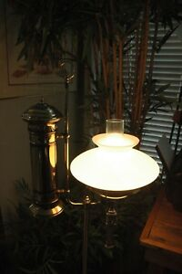 Vintage Victorian Brass Student Floor Lamp Electric With 3 Way Light Switch
