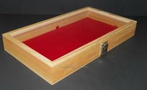 Key Lock Wood Glass Top Red Pad Display Box Case Militaria Medals Jewelry Knife