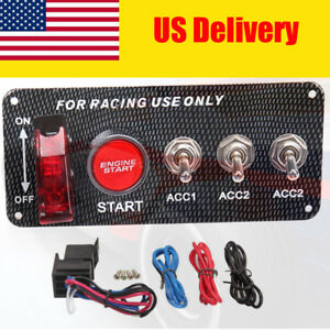 Racing Car Ignition Switch 12v Engine Start Led Push Button Toggle Pannel