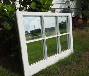 Salvaged Antique Window Sash 6 Pane Small 28x20 With Mirror Panes Rustic