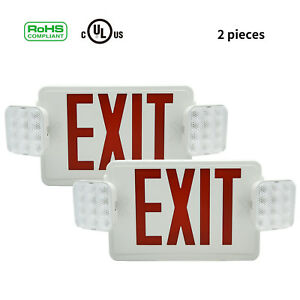 2 Pcs Red Adjustable Universal Double Face Exit Sign Indoor Big Emergency Light