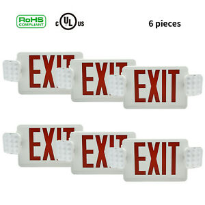 6pcs Exit Sign Led Emergency Lights Lamp Compact Combo With Battery Red Letter