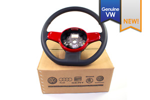 New Genuine Vw Beetle Black Leather Flat Bottom Steering Wheel Red Trim 12 15