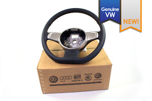 New Genuine Vw Beetle Black Leather Flat Bottom Steering Wheel Silver Trim 12 15