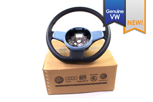 New Genuine Vw Beetle Black Leather Flat Bottom Steering Wheel Blue Trim 2012 15