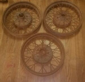 Lot Of 3 1930 31 Model A Ford 19 Wire Wheel Car Rim With Tire Antique Estate