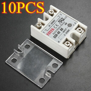 Set Of 10 Ssr 40da 3 32v 24 380v 40a Solid State Relay Alloy Heat Sink W Cover