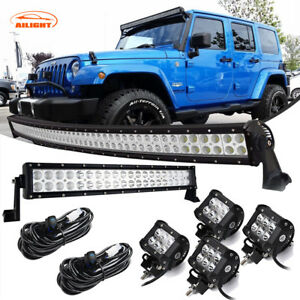 Jeep Wrangler Grand Cherokee 20 22 120w 50 Curved Led Light Bar 4 Pods Combo