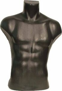 Male Torso Dress Form Mannequin Display Bust Tabletop Black High Quality Plastic