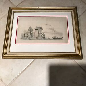 Antique 19th C Silk Embroidery Needlework Mourning Hair Memorial Scene Picture