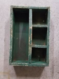 Handmade Vintage Old Fashioned Primitive Green Wood Tool Box Tray Carrier Tote