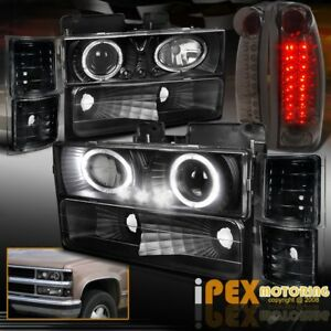 94 98 Chevy Silverado 10 Piece Halo Projector Black Headlights Led Tail Lights