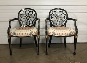 Pair Vintage Baker Arm Chairs Black Wood With Gold Accents