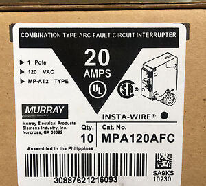 10 Murray Mpa120afc 20amp 1 Pole 120 v Combination Type Arc Fault Breaker New