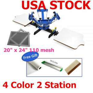 4 Color 2 Station Silk Screen Printing Machine T shirt Diy Printing 6pcs Frame