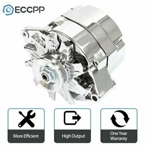 For Chrome Bbc Sbc Chevy Gm Alternator 1 Wire Chevy 327 350 396 427 454 110amp