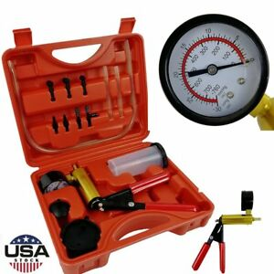 Hand Vacuum Pressure Pump Tester Kit Brake Fluid Bleeder Gauge Set Test Tools Us