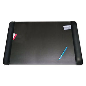 Executive Desk Pad With Leather like Side Panels 36 X 20 Black 4138 6 1
