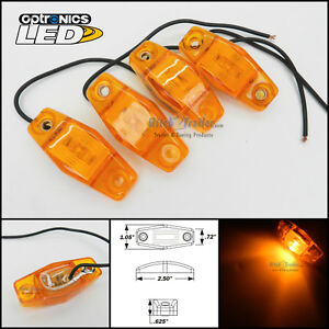 4 Optronics Amber Led Light Clearance Marker Trailer Truck Surface Mt 1 Wire