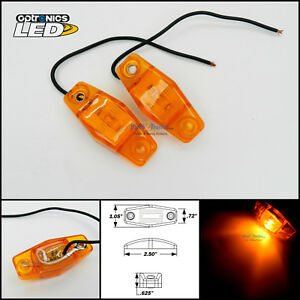 2 Optronics Amber Led Light Clearance Marker Trailer Truck Surface Mt 1 Wire