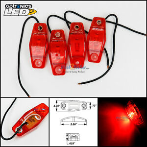 4 Optronics Red Led Light Clearance Marker Trailer Truck Surface Mount 1 Wire