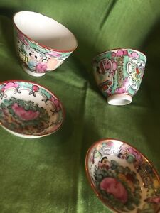 Vintage Floral Cups And Saucers Made In Macau Lot Of 2 Cups 2 5 Tall