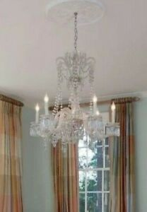 Exquisite Early 20th Century 6 Light Crystal Chandelier