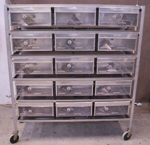 Hoeltge Inc Stainless Steel Rolling Rodent Cart With 30 Cells And Water System