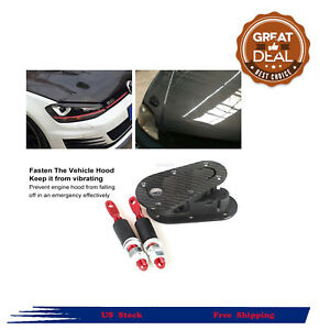 Racing Lock Plus Flush Hood Latch Pin Carbon Fiber Fit For Jdm Style With Key