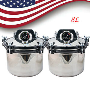 us Ups 8l Autoclave Sterilizer Medical Dental Tattoo Steam Sterilization 2 Set
