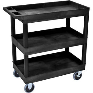 3 Tier Plastic Tub Rolling Cart 2 Caster Wheels Locking Brakes 500 Lbs Capacity