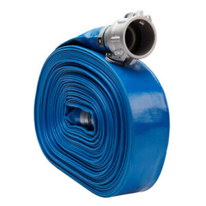 Blue 2 X 100 Camlock Lightweight Lay Flat Pvc Discharge Hose With Cam And Groo