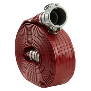 Red 2 X 50 Lay Flat Pvc Discharge Hose With Cam And Groove Quick Connect Fitt