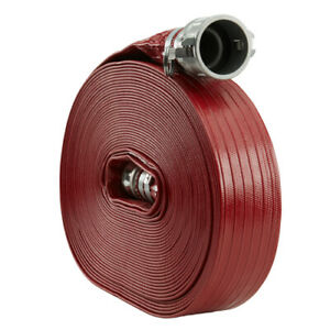 Red 2 X 100 Pvc Lay Flat Camlock Medium Duty Discharge Hose And Backwash Hose