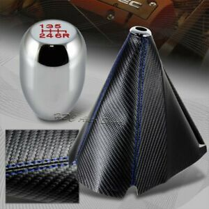 Blue Stitch Carbon Style Manual Shift Boot Type R Chrome 6 Speed Shifter Knob
