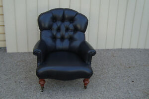 59325 Ethan Allen Leather Bergere Armchair Chair Redgrave