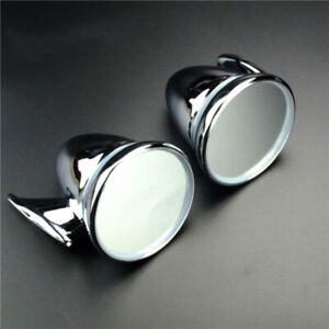 Universal 4 Inch Sports Car Gt Chrome Copper Bullet Type Rearview Mirror Pair