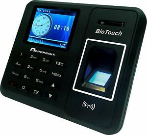 Acroprint Biotouch Time Clock Hours minutes seconds Fingerprint new r729