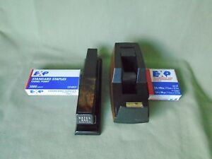 Vtg Lot 4 Office Desk Bates 640 Stapler 3m Bk Tape Dispenser C40 Box Staple Tape