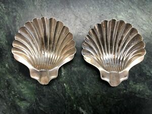 Pair Of Napier Sterling Silver Shell Design Footed Ashtrays Free Shipping