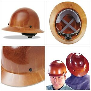 Msa Tan Skullgard Hard Hat Suspension Full Brim Cooling Sun Shade Jobsite Helmet