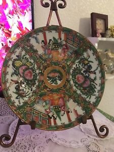 Antique Chinese Famille Rose Medallion Hand Painted Enamel Porcelain Plate 8 5