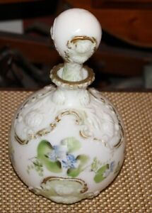 Antique Victorian Barbershop Milk Glass Decanter 2 Flowers Raised Patterns
