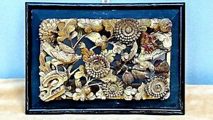 Antique Chinese Wood Gilt Lacquered Pierced Relief Birds Flowers Temple Panel 1