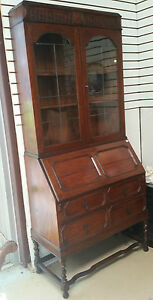 English Oak Slant Front Secretary W Leaded Glass Doors Drop H80 X W36 X D17